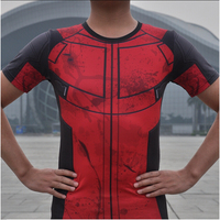 2016 summer Deadpool short sleeve o neck t shirts male cosplay anime clothes t shirts men fitness tights t shirt S 2XL