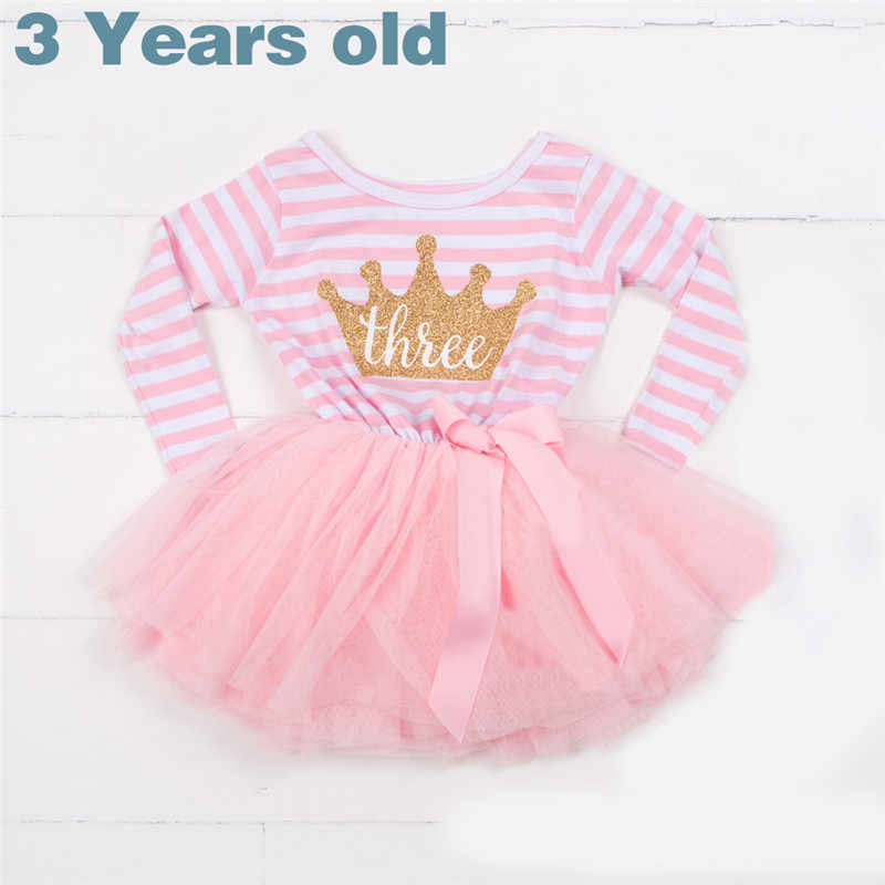 Cute Pink 3 Years Baby Girl Birthday Dress 2019 Girl Costume Striped Long Sleeve Girls Princess Dresses Christening Party Wear