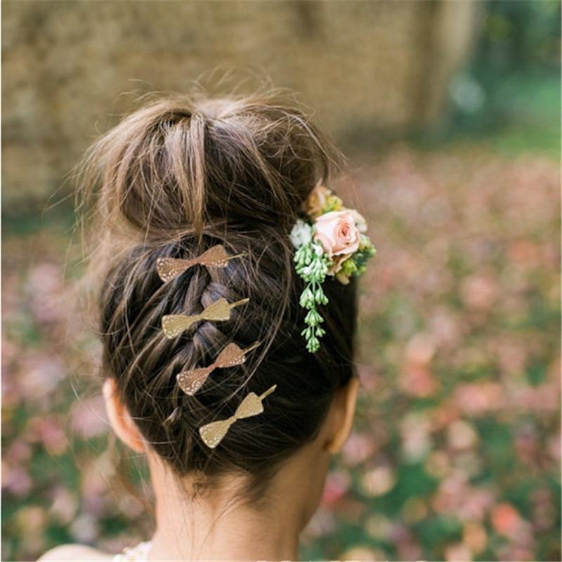 jewdy tijeras de oro nudo del arco de las horquillas barrettes clip para el pelo