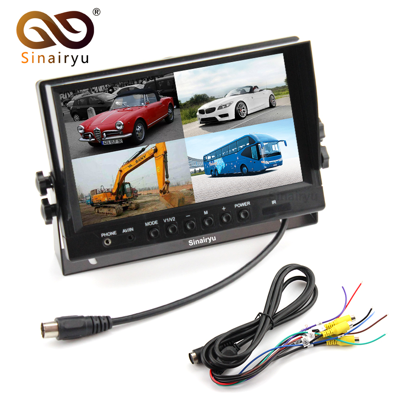 HD 800*480 9 TFT LCD Quad Split Monitor for Auto Truck CCTV Surveillance 4 Channels RCA Video Inputs Headrest Mounting Bracket автомобильный монитор oem 4 3 800 480 tft lcd