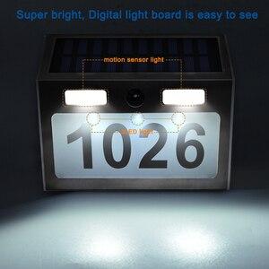 Image 5 - Güneş ev numarası plak ışık 200LM hareket sensörlü LED işıklar adres numarası ev bahçe kapı güneş lambası aydınlatma