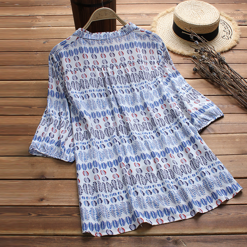 Cuello Blusa Oficina Otoño 5xl Elegante azul Botones Manga Mujeres Moda Casual L 2018 Beige 3 4 Trabajo Print Top O Camisa Floral Loose Vintage ztwn6