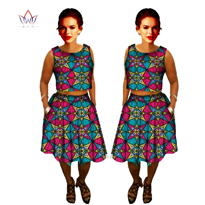 2 Piece Set Women African Clothing Bazin Wax African Print Skirt