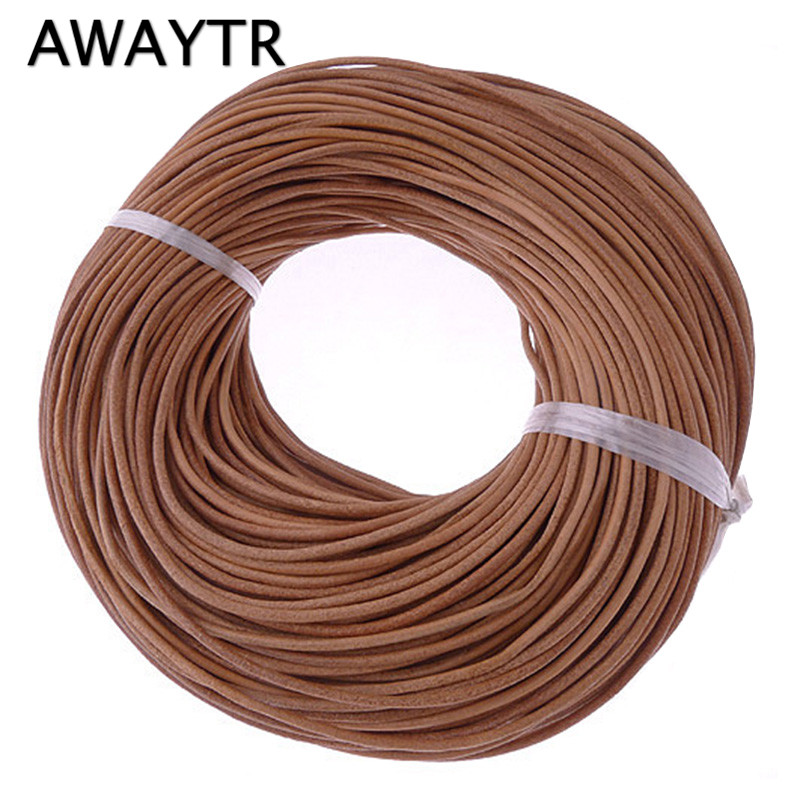 AWAYTR 10Meter 2mm Natural Color Real Genuine Leather Cord Round Rope String for DIY Necklace Bracelet Jewelry Cord artificial leather rope round collarbone necklace