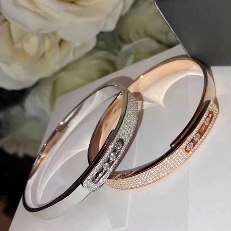 Brand Pure 925 Sterling Silver Jewelry For Women Rose Gold Full Stone Bangle Slide Move Stone Bangle Wedding Jewelry Easy Lock