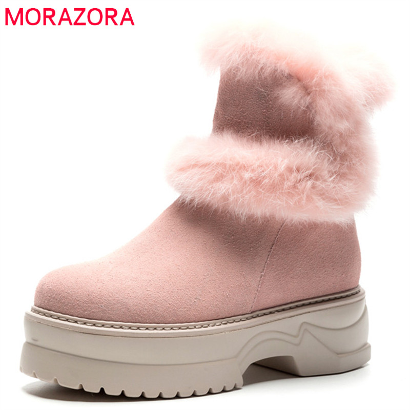 MORAZORA 2018 new arrival cow suede leather ankle boots for women round toe zipper platform boots warm winter snow boots femaleMORAZORA 2018 new arrival cow suede leather ankle boots for women round toe zipper platform boots warm winter snow boots female