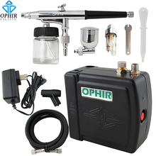 цена на OPHIR Free Shipping New DC 12V 0.3mm Dual Action Gray Airbrush Kit Air Compressor Nail Art Makeup #AC003+AC005+AC011