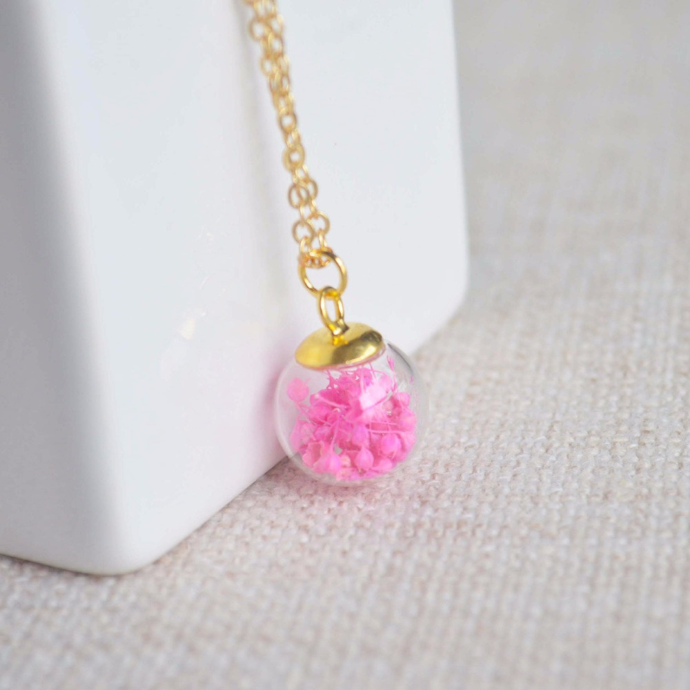 Pink Babysbreath Real Flower Glass Ball Pendant Gold Color Chain Necklace Women Choker Boho Fashion Jewelry Bohemian Vintage in Pendant Necklaces from Jewelry Accessories