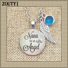 2018/Memorial necklace charm, NANA angel, memory, lost baby, grandson, stillbirth, stray charm and birthstone.