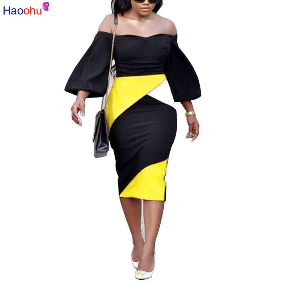 Detail Feedback Questions about HAOOHU Sexy Off the Shoulder Summer Dress  2018 Women Elegant flare sleeve Contrast color Dress Plus Size on  Aliexpress.com ... c95079b92501