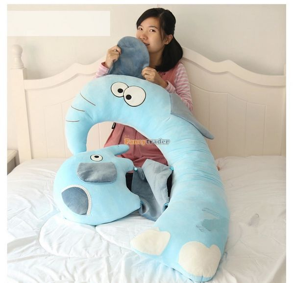Fancytrader New 47'' / 120cm Lovely Big Plush Stuffed Giant Multifunctional Cartoon Elephant Pillow Bed, Free Shipping FT50890 - 2