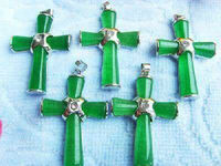 Wholesale 5PCS Natural Green Cross Crucifix Pendant Necklace AAA Grade AAAA