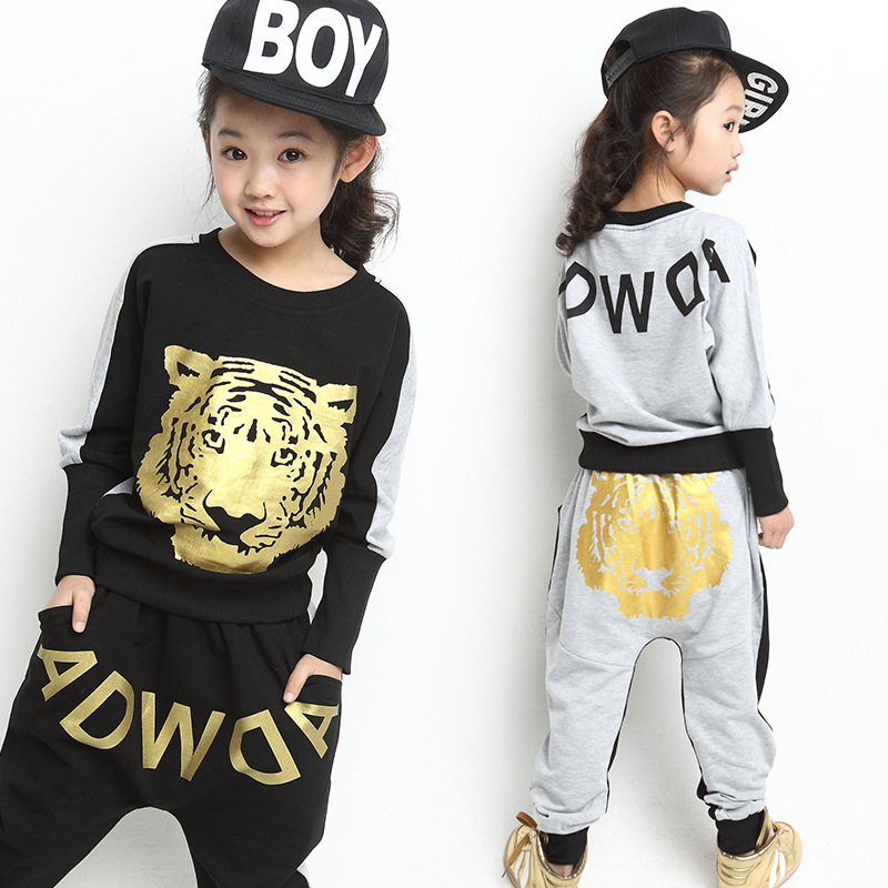 1b3dad97551 Boys fashion clothes children 2017 autumn new casual sports suits girls 3  14 year old children hip hop pants two piece bat shirt-in Clothing Sets from  ...