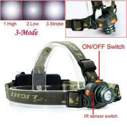 Headlight CREE Q5 LED 2000LM Led Headlamp Motion Sensing Cree Sensor Head Light Hunting camping Flashlight For 1x18650 / 3xAAA