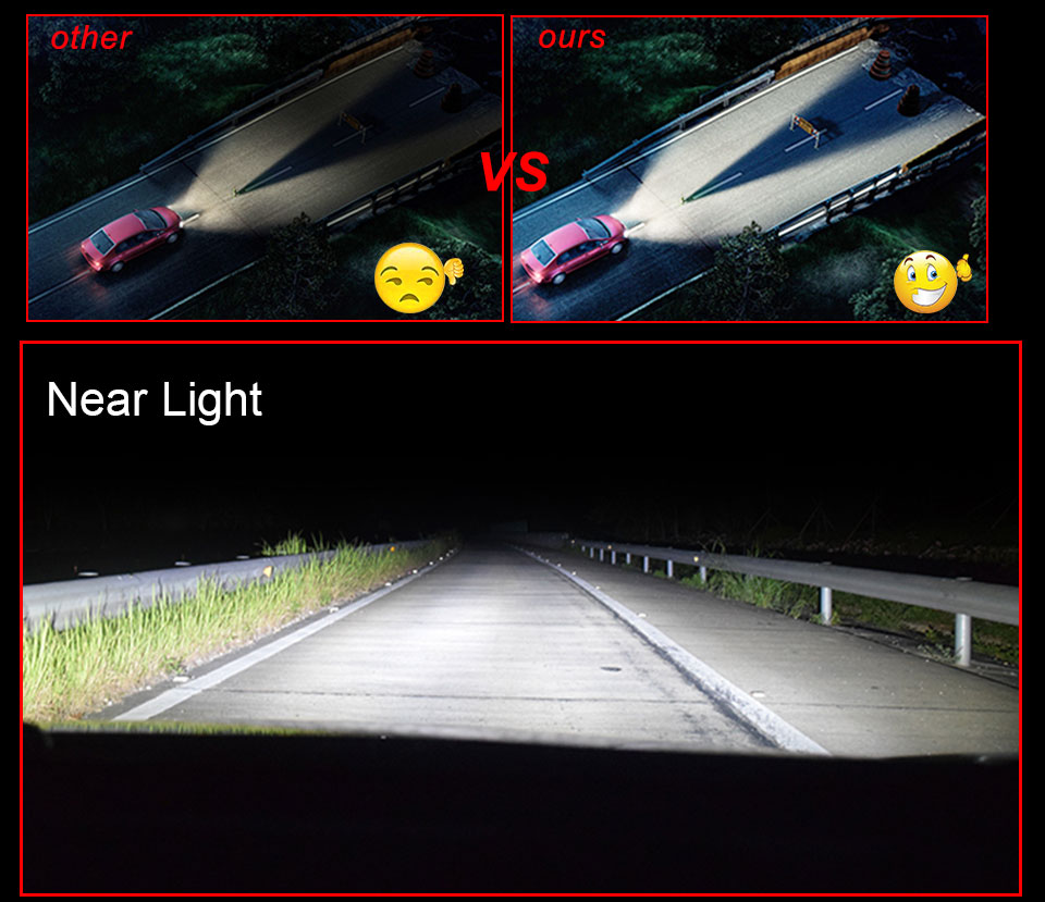 Foxcnsun LED H4 Car Bulbs 6500K Auto H7 LED Headlight Fan-less Head Lamp SUV 50W CSP Chips H11 9005 9006 led H3 H1 Bulbs H15 H8 (7)