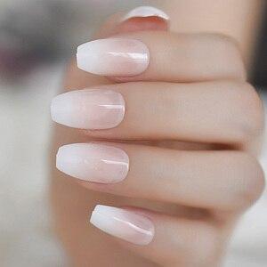 Image 2 - Ombre French Ballerina Fake Nail Gradeint Natural Coffin False Nails Wholesale Nails Supplier 24