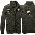2016 de La Moda de Estilo Militar Chaqueta de Los Hombres Rompevientos Chaqueta Hombre Chaqueta de Mezclilla Negro Sólido Hombres Ocasionales Veste Homme Plus M-4XL