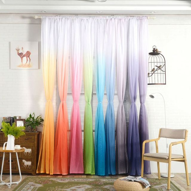 1 Pctulle Print Curtains Kitchen Decorations Window Treatments American Living Room Divider Sheer Voile Curtain Single Panel