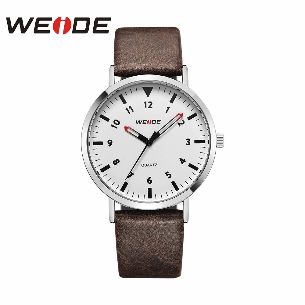 WEIDE Leather Watch Analog Quartz Men Luxury Sport Clock Fashion Casual Water Resistant Business Automatic White Dial Clock Hour