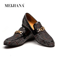 MEIJIANA Leather Loafers Luxury Fashion Round Toe Moccasins Men Dress Shoes Handmade Slip On Men's Party And Wedding Shoes