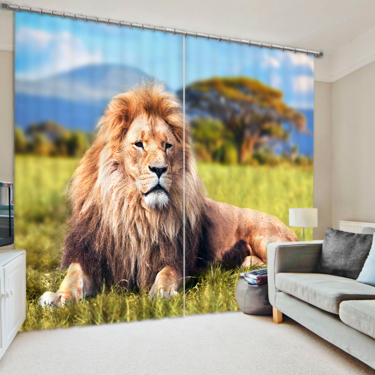 Modern Style Lion Animals 3D Window Curtains For Bedding room Living room Hotel Drapes Home Decorative