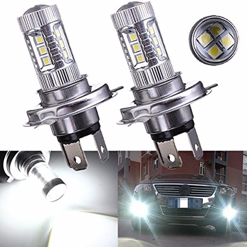 KATUR 2x H4 80W Car LED Fog DRL Daytime Running Light Bulb Auto Fog Lamps Hi/Lo Car Light Source  new 2x 4 led round drl daytime running driving auto car fog light lamps bulb kit set car accessories