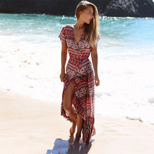 Deep V-Neck Sexy Floral Women Beach Dress Ruffled Backless Printing Female Dress Summer 2019 Casual fashion Party Clothing цена