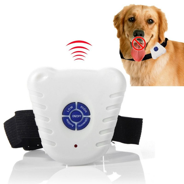Waterproof Dog Stop Barking Control Collar Training Device Button Clicker Adjustable Ultrasonic Dog Anti Bark Collar