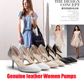 Spring & Summer 7cm High Heels Ankle Strap Women Pumps  Genuine Leather Upper PU Inside Non-Slip Soles Women Sandals