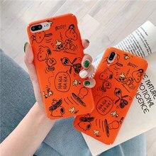 купить Orange cartoon dog phone case for iphone 6s 6 7 8 plus xr x xs max Japanese Charlie Brown Lucy hard plastic all inclusive coque по цене 128.96 рублей