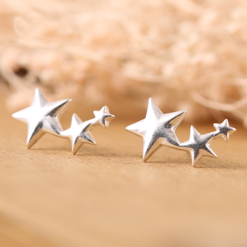 Pure 925 Sterling Silver Star Earrings For Women Girls Christmas Gift Hot Fashion sterling-silver-jewelry