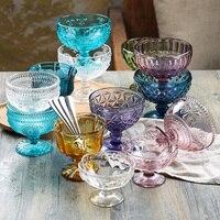 3pcs/set Ice Cream Vintage Embossed Glass Cup Creative Juice Cup Goblet Fruit Salad Bowl Safe Lead free Glass Dessert Bowl
