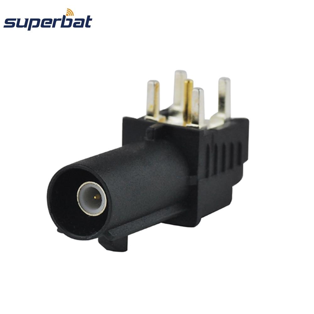 Superbat 10 piezas envío gratis Fakra SMB enchufe macho PCB montaje ángulo recto conector RF negro/9005 conector de Radio satelital