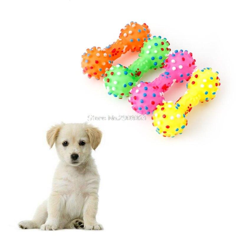 Perro Che Juguetes Colorida Punteada Con Mancuernas En Forma de Perro Masticar J