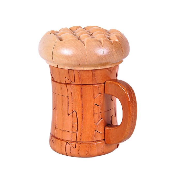 Mahogany Kids wooden Assembling toys 3D IQ brainteaser sandalwood Beer cup puzzle craft for home decoration