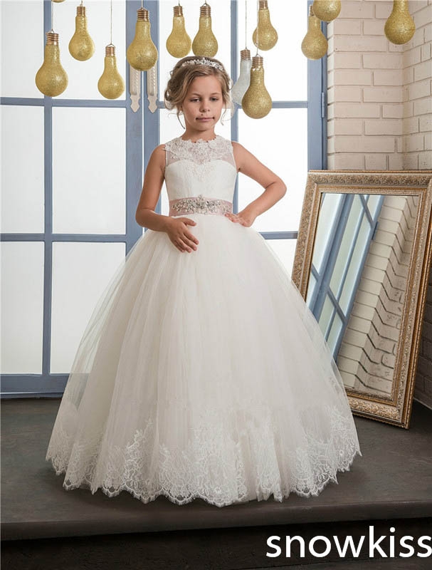 2017 white/ivory first communion dress for little girl with beaded lace appliques open back tulle flower girl dress with bow white ivory sleeveless open back lace knee length flower girl dress with sequin bow puffy ball gown tulle first communion gow