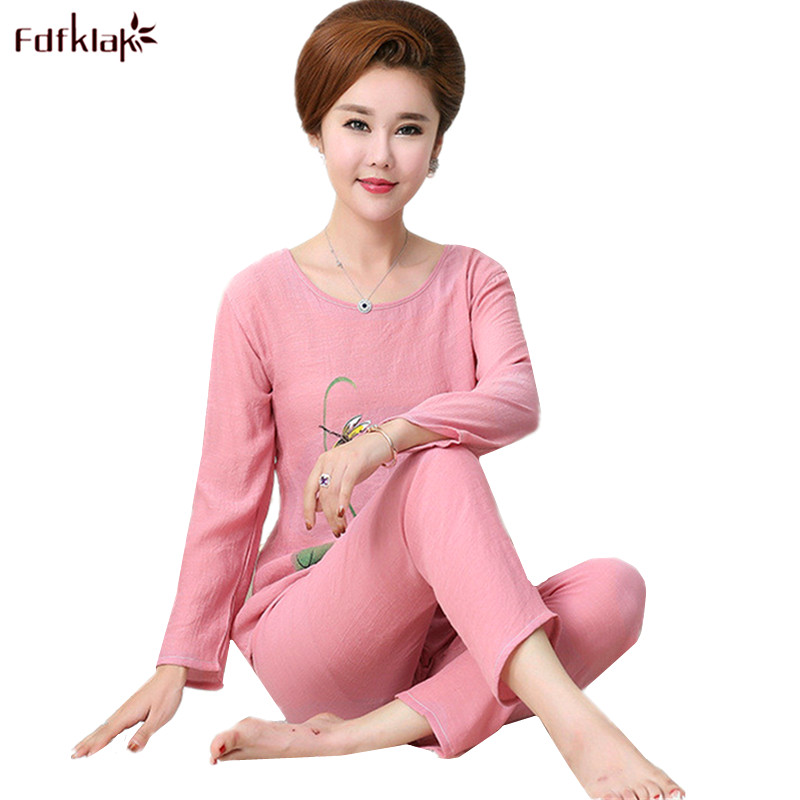 Fdfklak 2020 New Woman Pajamas Set Cotton Pijama Women Print Plus Size Spring Summer Pajama Pyjama Femme XL XXL 3XL 4XL