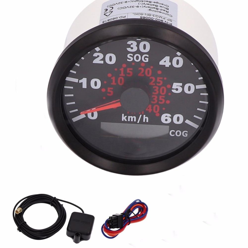 1 Pair 85mm GPS Speedometer Gauge 120km/h/ 60km/h Speedometer With Backlight fit Motor Boat Yacht 9~32V Speed Sensor