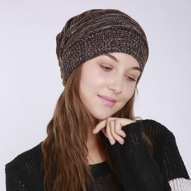 32edb7840 new popular fold heap ladies men wool hats all - acrylic warm knit caps boys  girls outdoor wear hat women strip wave beanies