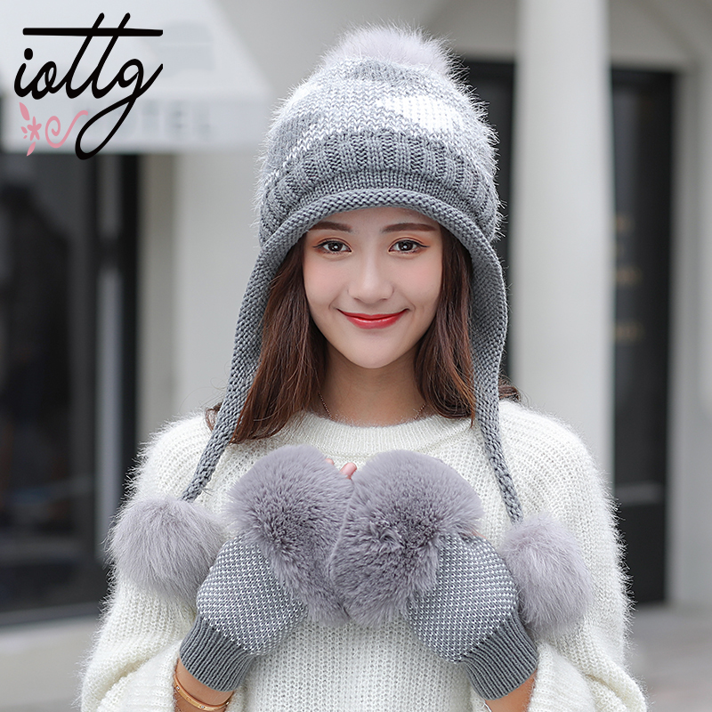 IOTTG Winter Fur Pompom Knitted Hat Women Gloves Caps Mask Gorras Bonnet Warm Winter Hats For Girls   Skullies     Beanies   Hats