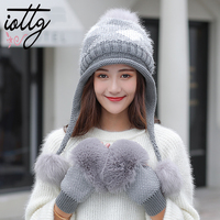 IOTTG Winter Fur Pompom Knitted Hat Women Gloves Caps Mask Gorras Bonnet Warm Winter Hats For Girls Skullies Beanies Hats