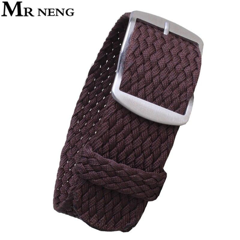 MR NENG 1 PCS / Wholesale Fashion NATO Nylon Brown WATCHBAND 20mm 22mm  Waterproof Nylon For Perlon Watch Strap Men And Women