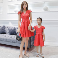 Mommy and Daughter Matching Clothes Polka Dots V Neck Mother Me Dresses Summer Fashion Matching Family Outfits Mum Kids Look