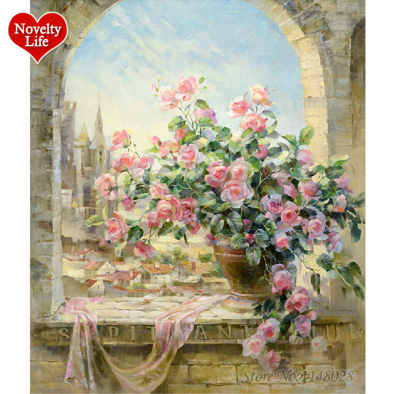 No Frame Window Flowers Scene DIY Painting By Numbers Kits Paintings for Living Room Wall Coloring Painting By Numbers F16