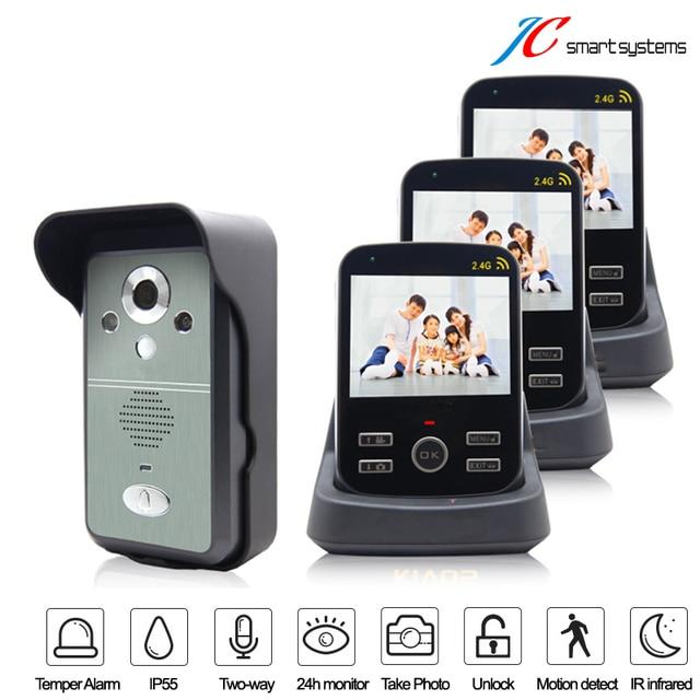 Cheapest digital video camera wireless door video phone intercom doorphone 3 monitors call to each other freely