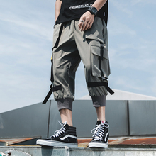 Streetwear Calf-Length Pants Webbing Multi-Pockets Mens Elastic Waist Black Green Gray