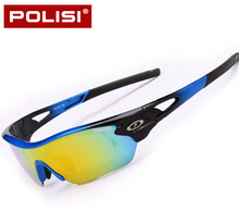 POLISI Men Women Polarized Cycling Glasses Outdoor Sports Bicycle Glasses Bike Sunglasses Goggles Cycling Eyewear 5 Lens