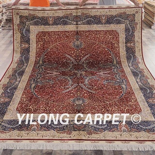yilong 8x10 rouge nous la main tabriz soie tapis oriental soie persan - Tapis Oriental Rouge