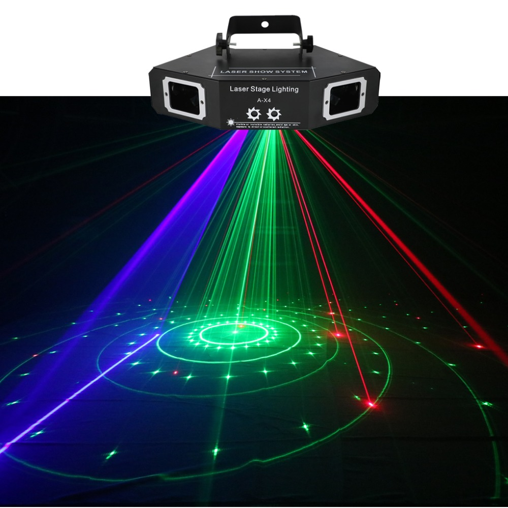все цены на AUCD DMX 4 Lens RGB Red Green Blue Beam Pattern Network Laser Light Home PRO DJ Show KTV Scanner Club Stage Lighting A-X4