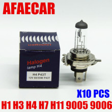 AFAECAR 10pcs 4300K H7 H4 H11 9005 9006 car halogen bulb headlight H1 H3 auto fog